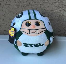 "New TY NFL Beanie Ballz - NEW YORK JETS Medium Size - 8"" x 8"
