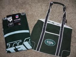 NEW YORK JETS CANVAS TOTE/BEACH BAG AND BEACH TOWEL NFL PROD