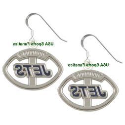New York Jets Football Logo Pendant Earrings With 925 Earrin