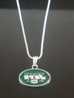 New York Jets Logo Pendant Necklace Sterling Silver Chain NF