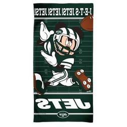 """NEW YORK JETS MICKEY MOUSE SPECTRA BEACH TOWEL 30""""X60"""" COTTO"""
