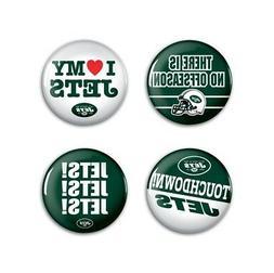 "New York Jets Wincraft NFL Button Pins 4 Pack 1-1/4"" Round F"