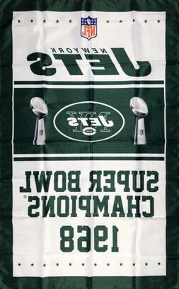 New York Jets NFL Super Bowl Championship Flag 3x5 ft Footba