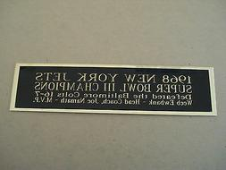New York Jets Super Bowl 3 Nameplate For A Football Mini Hel