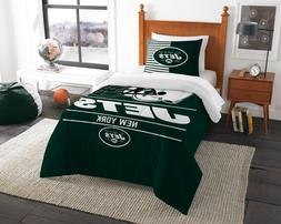 """New York Jets Twin Comforter & Sham Set OFFICIAL NFL """"Draf"""