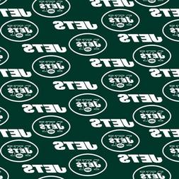 NFL Football New York Jets on Green Cotton Fabric by the Yar