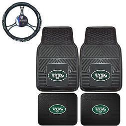 NFL New York Jets Car Truck Rubber Floor Mats & Steering Whe