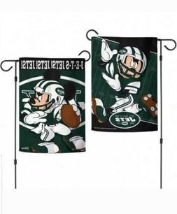 "NFL NEW YORK JETS DISNEY 12.5"" x 18"" GARDEN FLAG NFL Mickey"