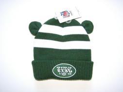 NFL New York Jets Kids Size Beanie Ears Cuff Knit Hat Cap Sk