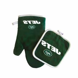NFL New York Jets Logo Oven Mitt & Pot Holder, One Size, Bla