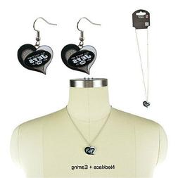 NWT Aminco NFL New York Jets Swirl Heart Necklace and Earrin