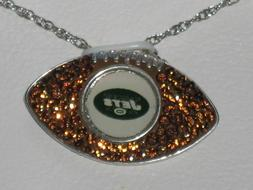 Sterling Silver Crystal New York Jets Football Pendant